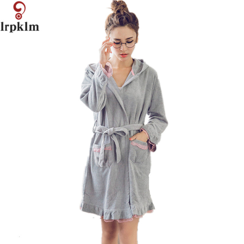 bath robe hooded robes for women dress gown warm bathrobe. Black Bedroom Furniture Sets. Home Design Ideas