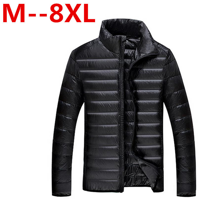 9XL 8XL 7XL New Arrival Winter Mens Down Jacket 90% White Coat Solid Thin Warm Waterproof Plus Size Shipping Free Delivery
