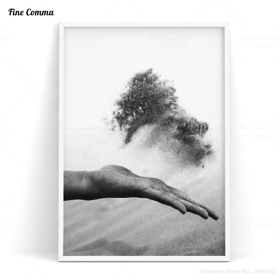 Sand in Hand Posters and Prints Scandinavian Decor Black Nordic Art Poster Wall Picture for Living Room Wall Art Canvas Print