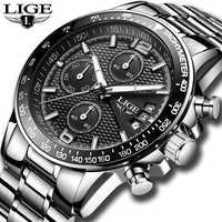 ¡Novedad de 2019! Relojes LIGE de lujo para hombre, cronómetro deportivo resistente al agua de cuarzo, reloj de negocios a la moda para hombre, reloj masculino
