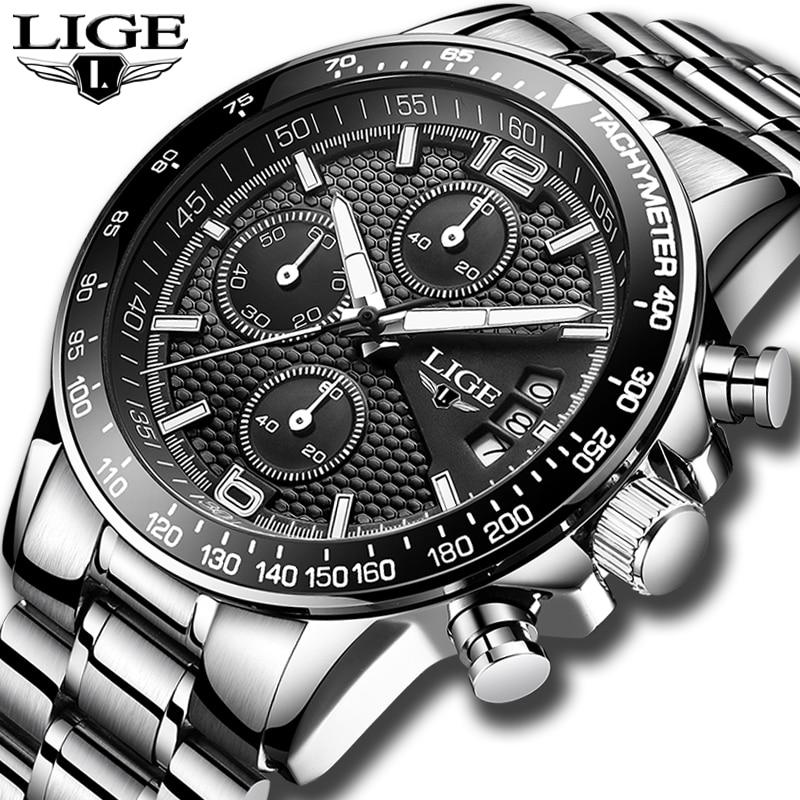 2019 LIGE Mens Watches Top Brand Luxury Stopwatch Sports Waterproof Quartz Watch Man Fashion Business Clock Relogio Masculino