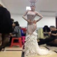Women New Sparkly Rhinestones Feather Sexy Long Dress Glisten Full Stones Big Floor Tail Costume Prom Birthday Celebrate Dresses