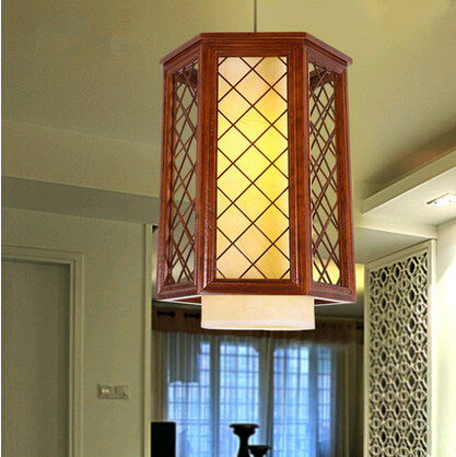 Chinese quaint brief wood art Pendant Lights Hand-carved coffee frame single lamp for balcony&corridor&porch&stairs&cafe MYR020