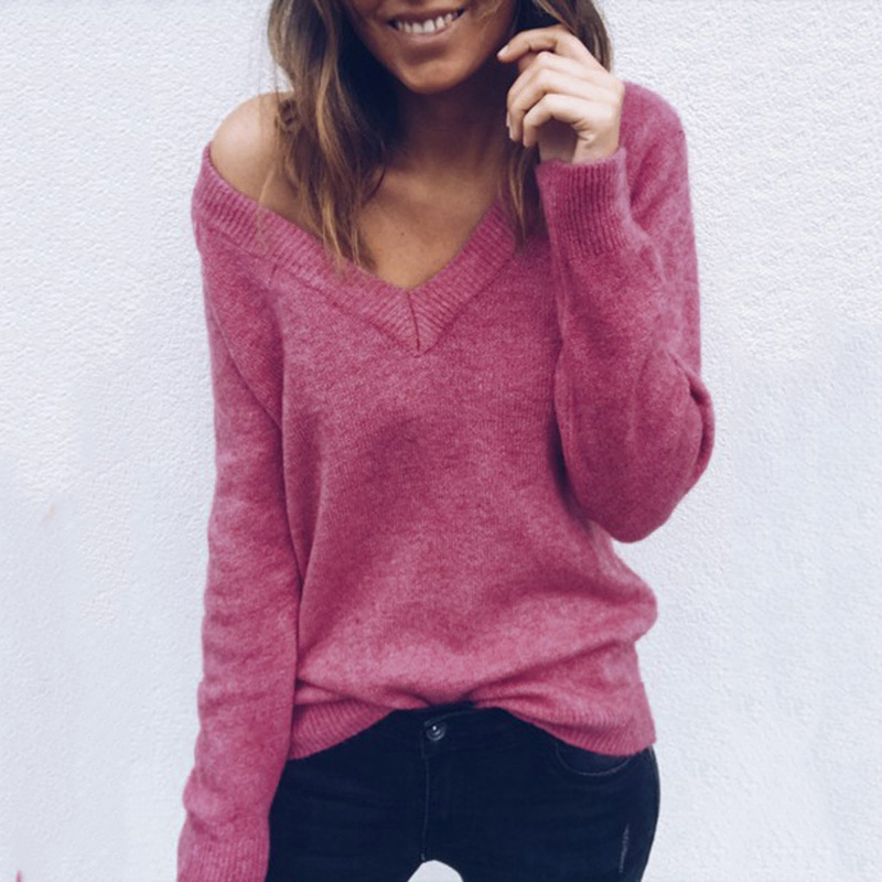 Women Pullovers V-neck Knit Shirt Long Sleeve Knitting Christmas Rose Color Sweater Female Sweater Knitwear Women Tops