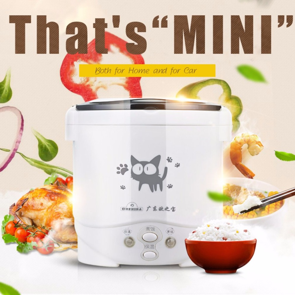 Multi-use Vehicle Electric Rice Cooker 2In1 Function Cook +Steam Auto Rice Cooker 1L Mini Cooker For Rice Soup Porridge Car Use 220v 600w 1 2l portable multi cooker mini electric hot pot stainless steel inner electric cooker with steam lattice for students