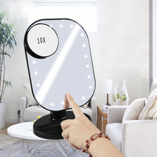 20 LED Lights Touch Screen Makeup Mirror 10X Magnifying Hollywood Mirrors Vanity Table Desktop  Batteries Use 10x magnifying makeup mirror with led light cosmetic mirrors round shape desktop vanity mirror double sided backlit mirrors