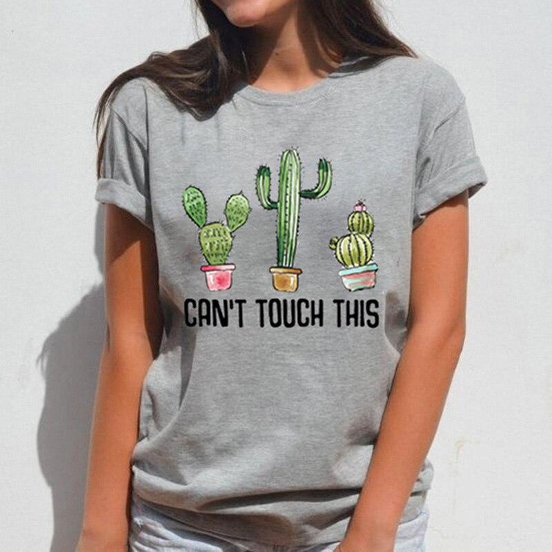 Cartoon Cactus Print Short Sleeve O-neck Women T-shirt 2019 Summer Loose Female Tops Women T-shirt