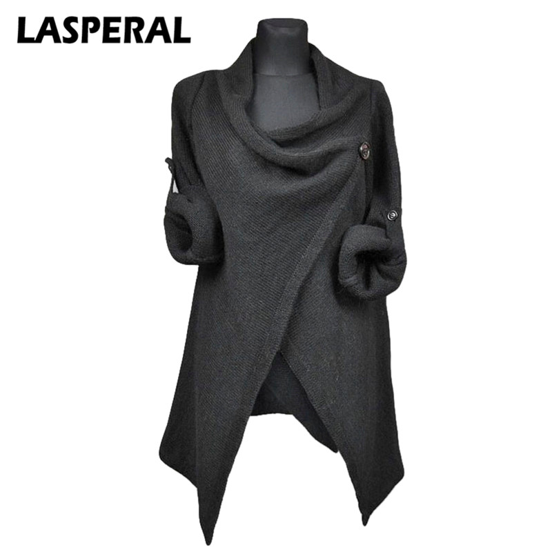 LASPERAL Autumn Women Sweaters Cardigan overcoats Fashion Solid Knitted coat Casual Long Sleeve Irregular Grey Outerwear sweater
