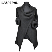 LASPERAL Autumn Women Sweaters Cardigan Overcoats Fashion Solid Knitted Coat Casual Long Sleeve Irregular Grey Outerwear