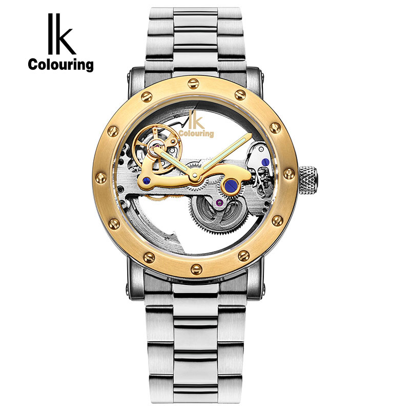 Luxury Brand IK Colouring Leather Strap Transparent Dial Golden Case Mens Watches Automatic Mechanical Orologio MenLuxury Brand IK Colouring Leather Strap Transparent Dial Golden Case Mens Watches Automatic Mechanical Orologio Men