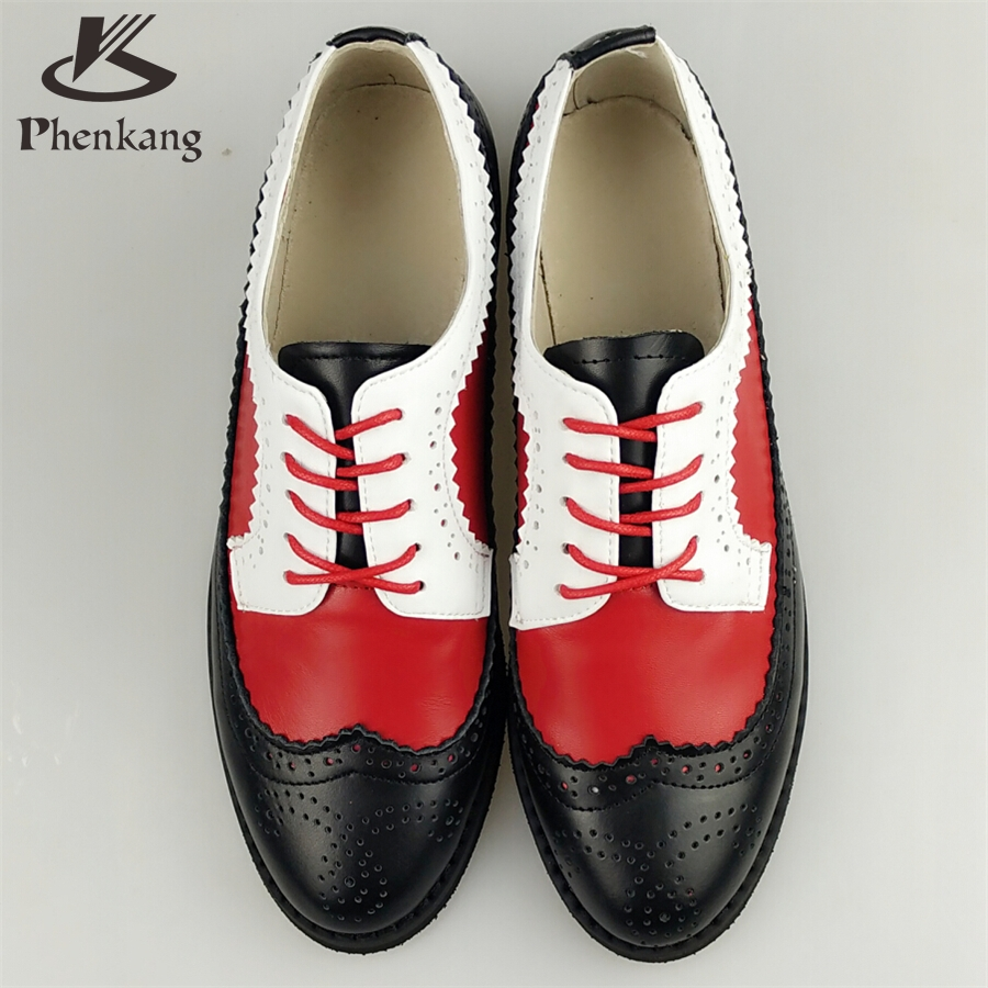 ФОТО Genuine leather big woman US size 11 designer vintage flat shoes round toe handmade red white black oxford shoes for women fur