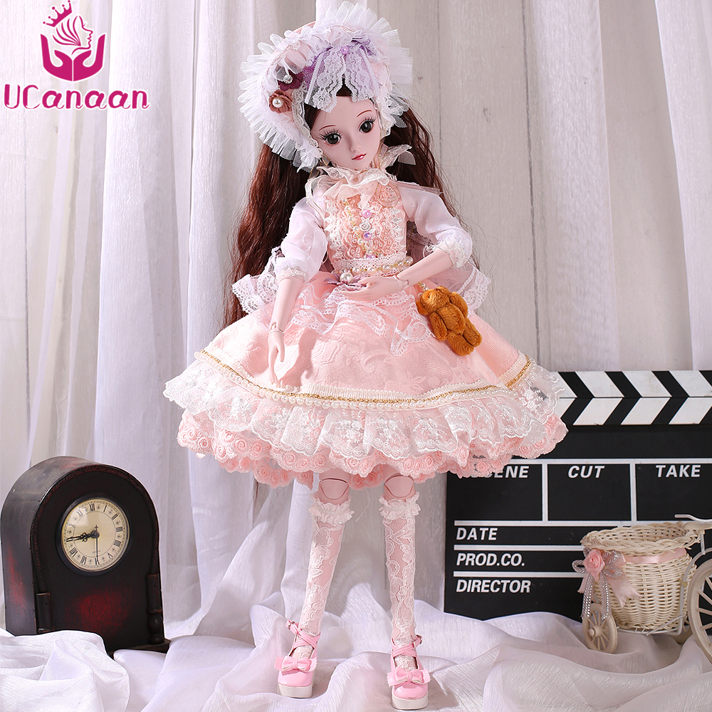 UCanaan 1/3 BJD Doll Fashion Style Lovely Bory Toys For Baby Girl New Arrival Toy With Outfit Shoes Wig Dress Makeup SD Dolls new lovely girl pink white thick bottom shoes 1 3 dd sd bjd doll shoes
