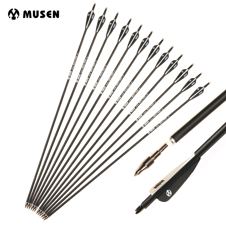 6/12/24 Pcs 28/30/32 Inches Mixed Carbon Arrow Spine 500 Black White Feathers For Recurve/Compound Bows Archery Hunting Shooting