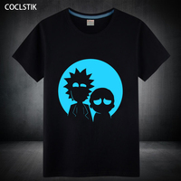 100 Cotton Children Adult Summer Fluorescent Rick And Morty T Shirt Male Mens Anime Luminous Kids