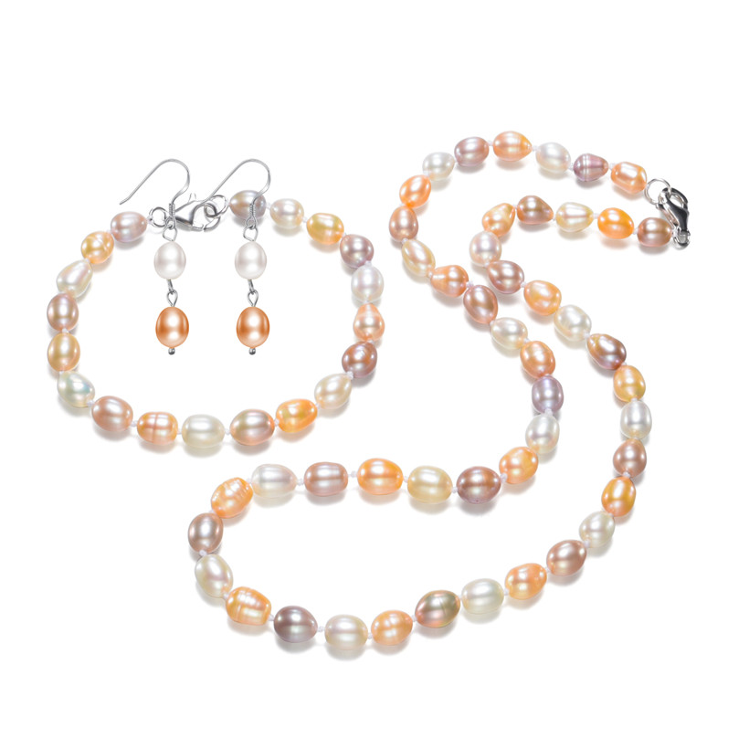 SNH 7-8mm AA oval drop mixed color charming pearl set  latest design pearl set free shippingSNH 7-8mm AA oval drop mixed color charming pearl set  latest design pearl set free shipping