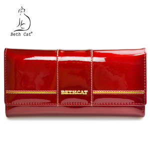 Image 5 - BETH CAT New Fashion Genuine Leather Women Wallet Female Hasp Purse Long Coin Purses Ladies Wallets Cowhide Red