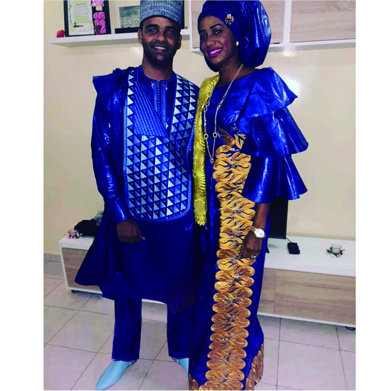 H&D Men African Clothes Blue Agbada Suit Cover Shirt Pants 3 Pieces Set No Cap Dashiki Robe Embroidery African Pattern PH3307