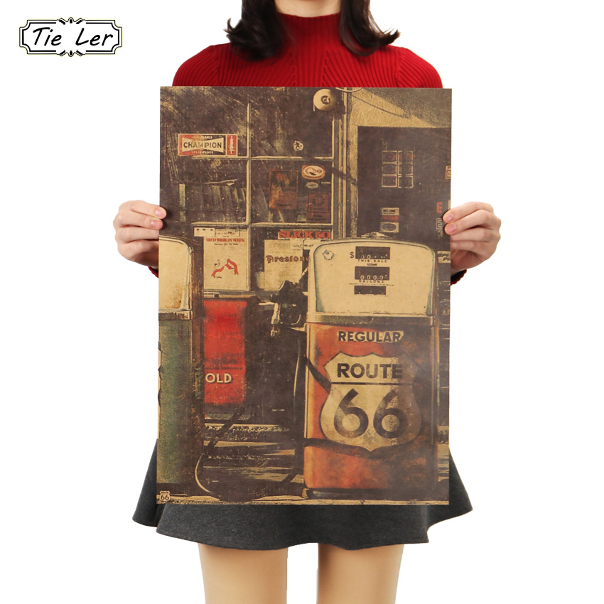 TIE LER United States Route 66 Gas Station <font><b>Wall</b></font> <font><b>Sticker</b></font> <font><b>Retro</b></font> Nostalgia Kraft Paper Poster 51.5x36cm image