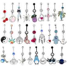 1PC 14G Body Piercing Jewelry Silver Navel Piercing Pineapple Dream Cacther Dangle Belly Button Ring for Women(China)