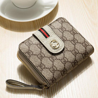 Women wallet European and American fashion first layer leather wallet female Short style printed multi card pack coin purse