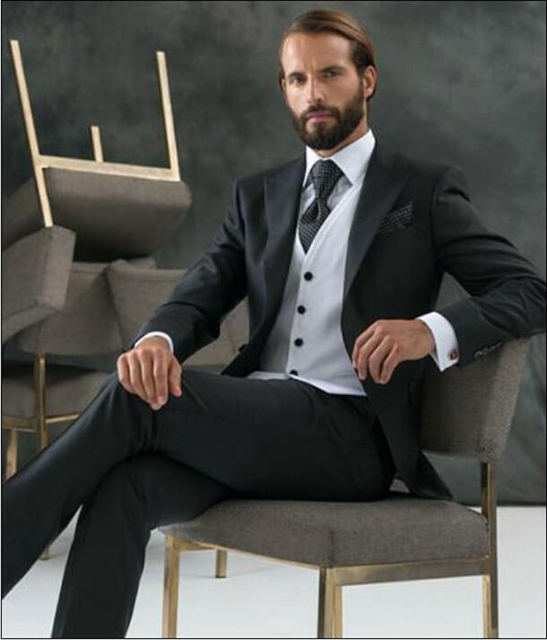 70a248f13954 € 88.04 10% de DESCUENTO|Aliexpress.com: Comprar Trajes clásicos negros de  plata con un botón para novio para boda 2019 los mejores trajes para ...