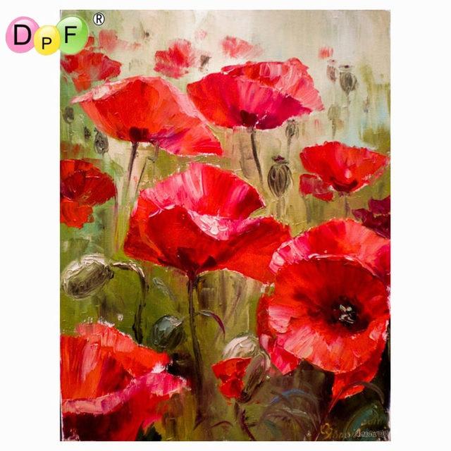 dpf diy lgem lde rote mohnblume farbe auf leinwand acryl f rbung durch zahlen malerei f r. Black Bedroom Furniture Sets. Home Design Ideas