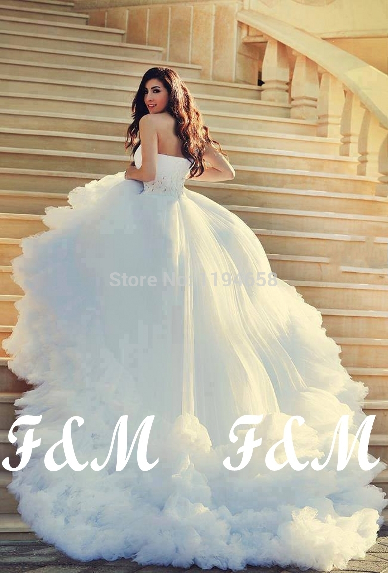 Elegant 2014 white one shoulder beaded wedding dresses for White wedding dresses with long trains