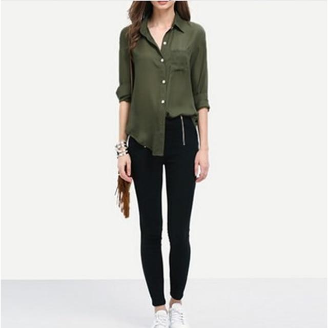 63a0820a00d Women Shirts Army Green Chiffon Tops Turn Down Collar Blouse Blusas  Femininas Long Sleeve Casual Plus Size blusa xadrez mujer