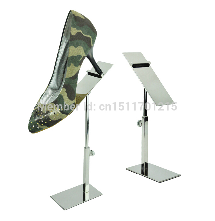 Free Shipping Adjustable Metal Polished Shoe Display Stand Rack Shoe Display Stand Holder free shipping metal gold hat display stand polished gold cap display racks