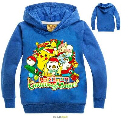 Pokemon Pikachu Chirstmas Print Hoodies Cartoon Children's Sweatshirts For Boy Outwear Coat Kids Clothes  Boys Girls  Costume