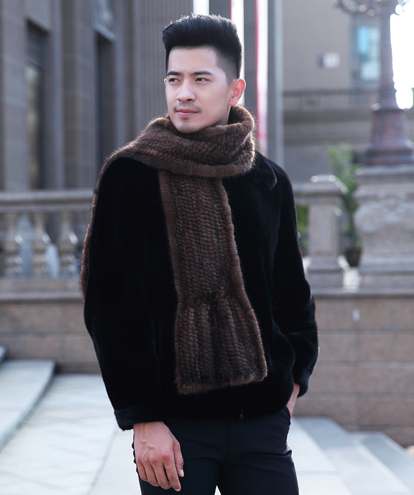 YCFUR Brand Design Men   Scarves     Wraps   Winter Knitted Genuine Mink Fur   Scarf   For Men Warm Winter Long   Scarves     Wraps   Male