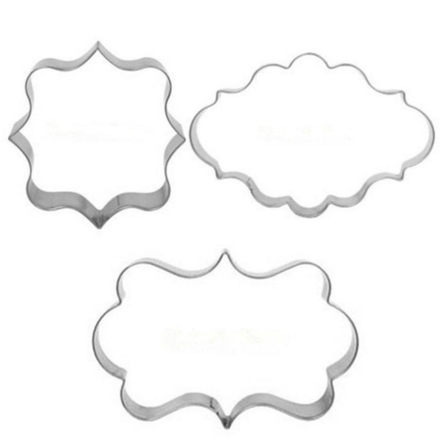 3pcs/set European Wedding Frame Metal Cookie Cutters Biscuits Stainless Steel Tools fondant sugarcraft Decorator Baking Mould
