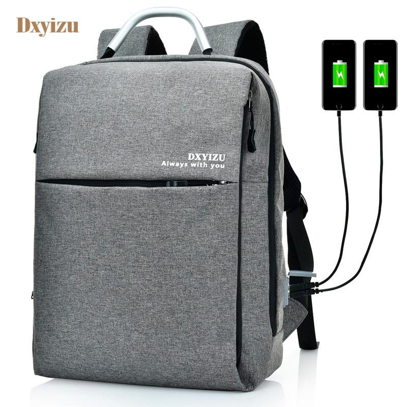 High Quality Waterproof Multifunction Backpack Bag Men 2 External USB Charge Travel Bags 15 Inch Laptop Bag Solid College bag