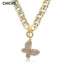 Женское Ожерелье и кулоны chicvie золотого цвета с длинным кристаллом