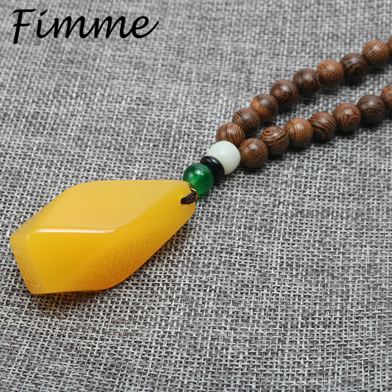 Vintage Ethnic Wood Necklaces Womens Chain Natural Stone Pendant Long Sweater Necklace for Women Men Jewelry Christmas Gift