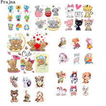 Prajna Cute Bear Animal Iron On Transfer Patches Cartoon Dog Cat For Child Shirt Heat Wholesale Stickers Diy H