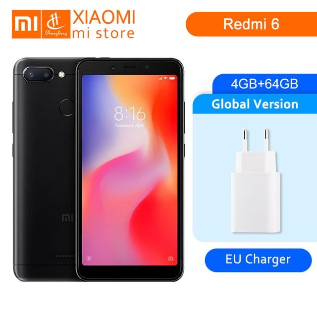 """הגלובלי גרסת Xiaomi Redmi 6 4 GB 64 GB Helio P22 אוקטה Core מעבד 12MP + 5MP מצלמות כפולה 5.45 """"18:9 מלא מסך 3000 mAh נייד טלפון"""