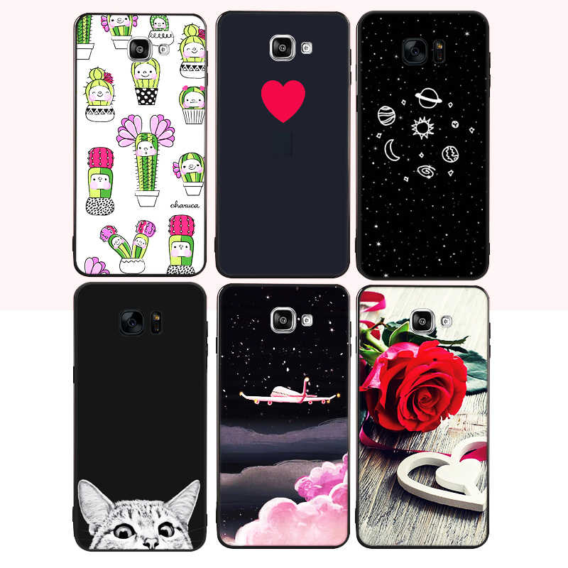 Black Matte TPU Phone Case For Samsung Galaxy S9 Plus A8 Plus 2018 J3 J5 J7 A5 2017 A3 A7 2016 Silicon Cover Heart Lover Pattern