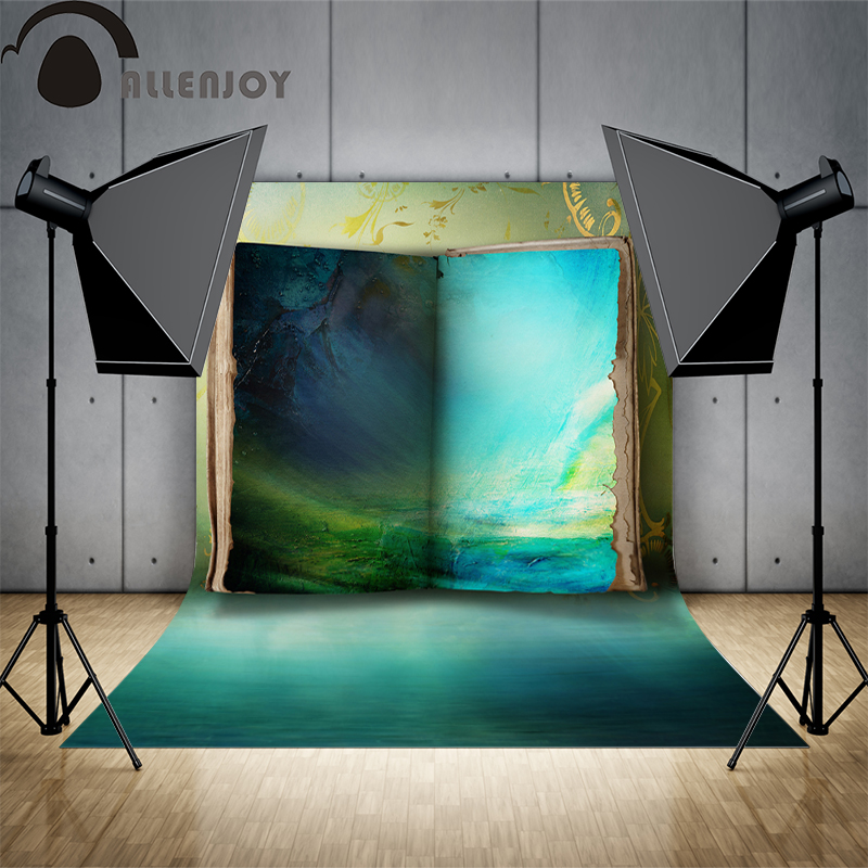 Allenjoy background for photo shoots Book blue mysterious wonderland oil painting backgrounds for photo studio for a photo shoot