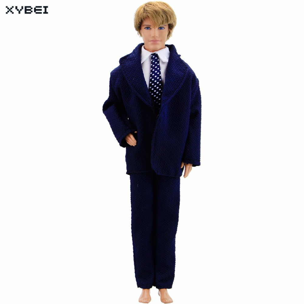 Handmade Dark Blue Outfit Formal Business Suit White Shirt Pants Tuxedo Clothes For Barbie Doll Friend Ken Accessories Gift Toy портмоне mano business 20200 20200 dark blue blue
