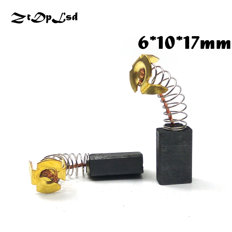 ZtDpLsd 2 Pcs/Pair 6x10x17mm Mini Drill Electric Grinder Replacement Carbon Brushes Spare Part For Electric Rotary Tool 103#