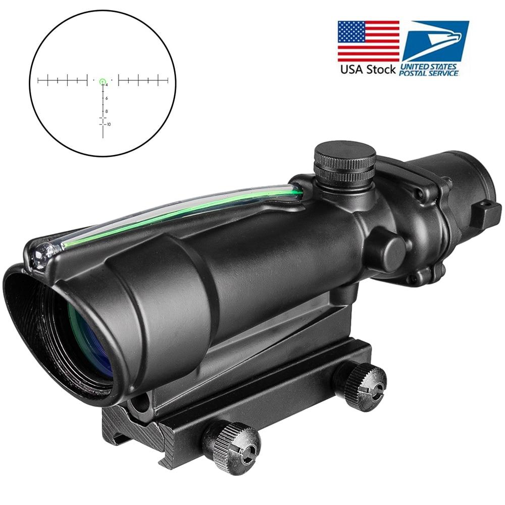 ACOG 5x35 Dual Illuminated Chevron Red Green Cross Fiber Scope Hunting Riflescope  Reticles Tactical Rifle Optical Sight