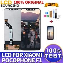 """100% מקורי 6.18 """"עבור Xiaomi Pocophone F1 LCD מסך מגע מסך Digitizer עצרת + מסגרת עבור POCO F1 תצוגה להחליף"""