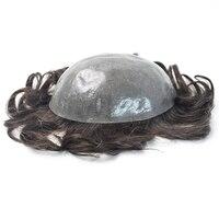 Ultra Thin Skin Men Toupee Full PU Men Toupee Silk Base Bleached Knots Natural Wave Remy Hair Comingbuy