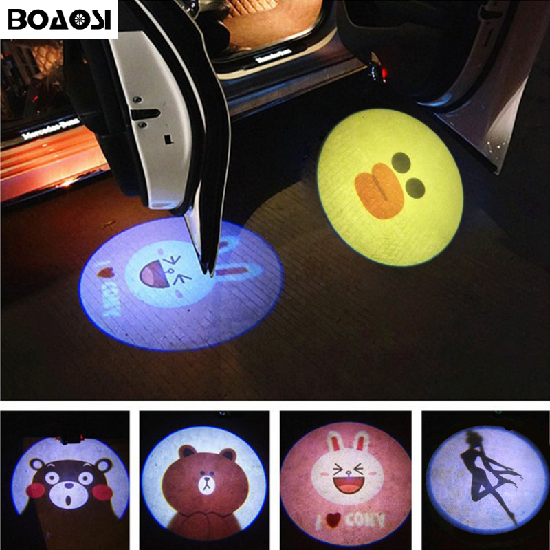BOAOSI 2pcs Wireless Car Door Welcome Light Logo No Drill Type Badge Lights LED Laser Ghost Shadow Projector Lamp 2 x wireless led car door logo projector welcome ghost shadow light for suzuki swift sx4 s cross jimmy alto celerio grand vitara