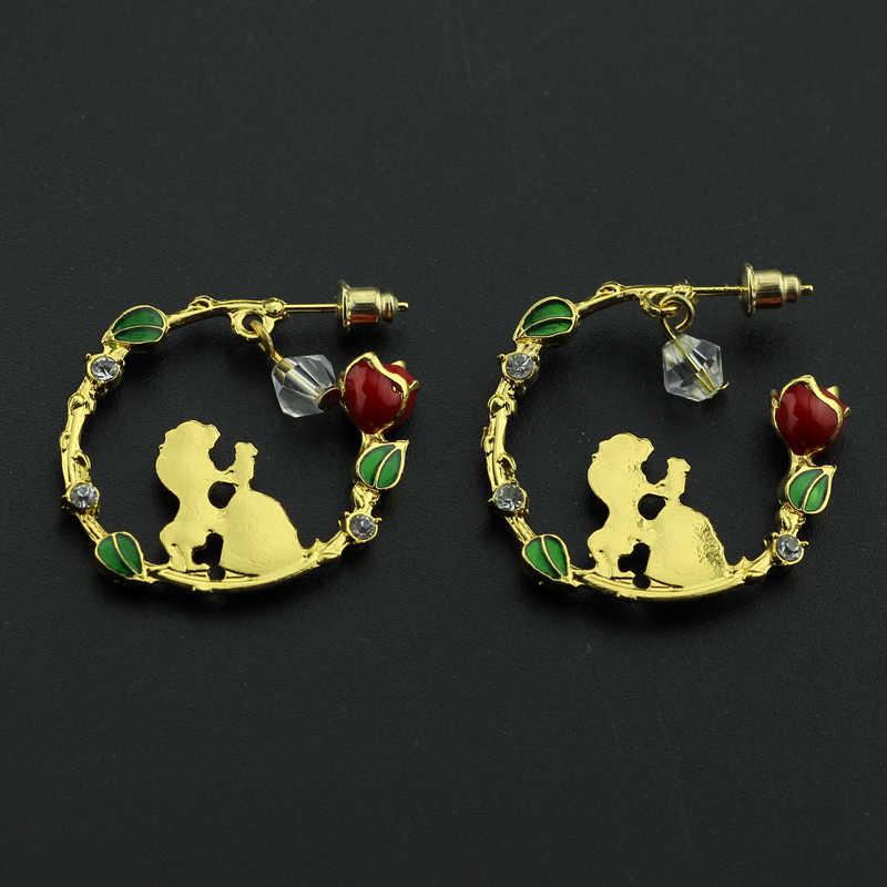 e858a70b6b 3 Types Beauty and the Beast earrings in Stud Earring Ear Cuff Belle  Cosplay Jewelry Rose