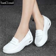 Kiváló minőségű fehér platform női cipő női valódi bőr lift alkalmi cipő íves hevederek heelsThick Sole Hole Trainers