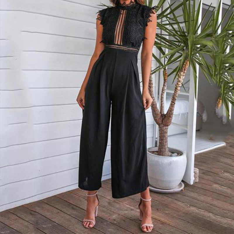 섹시한 민소매 Backless Ruffled Jumpsuit 여성을위한 우아한 Hollow Out Womens Long Jumpsuits 2020 Summer Romper Casual Overalls