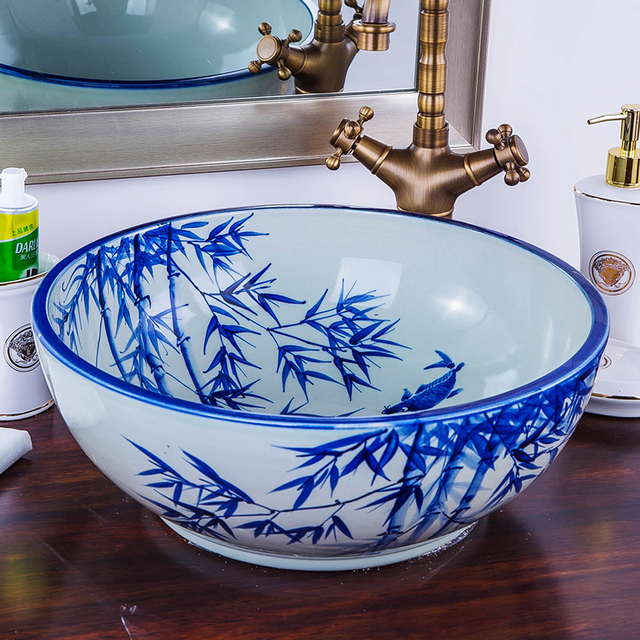 Blau und weiß Künstlerische Runde Waschbecken Keramik Coutertop ...