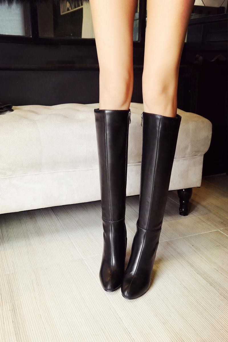 Mode Femme Plat Bout Rond Pliable Manchette Souple Mi-Mollet Knee High Boot NEW